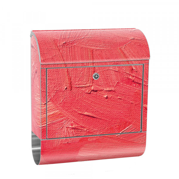 Stainless Steel Letterbox with Newspaper roll & Motif Wiping Technique pink | No. 0109