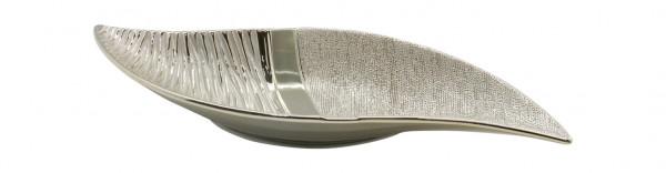 Moderne Dekoschale Obstschale Schale aus Keramik champagner-silber Länge 40 cm