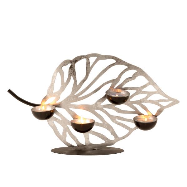 Moderner Teelichthalter Teelichtleuchter Windlichthalter Blatt aus Metall schwarz/silber Höhe 23cm B