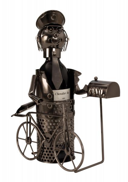 Moderner Wein Flaschenhalter Postbote aus Metall Höhe 33,5 cm Breite 23,5 cm