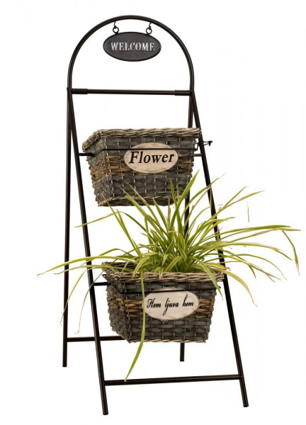 Elegant plant stand including 2 planting baskets made of metal black Height 96 cm