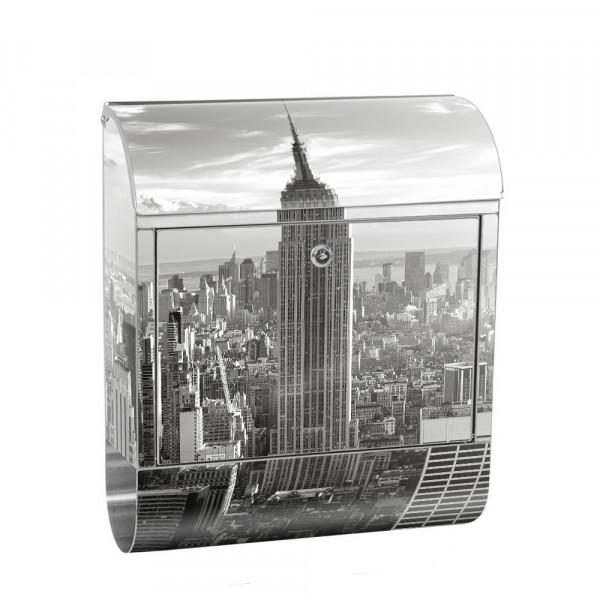 Edelstahlbriefkasten mit Zeitungsrolle & Motiv Empire State Building | no. 0015
