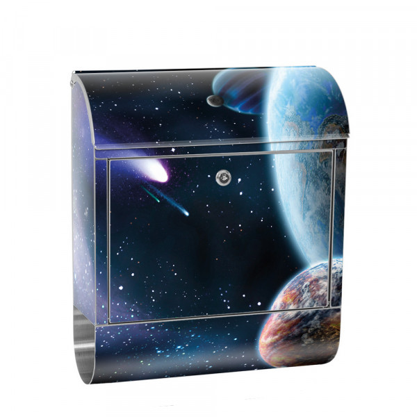 Stainless Steel Letterbox with Newspaper roll & Motif Earth Space Planet | No. 0232