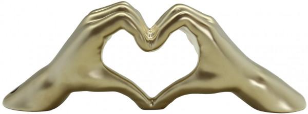 Moderne Skulptur Dekofigur Hand Heart aus Keramik champagner matt 31x11 cm