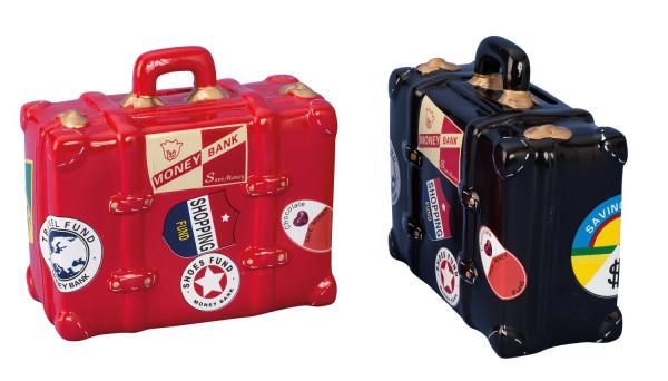 Moderne und coole Koffer Spardose in rot oder schwarz Höhe 10 cm Breite 15 cm