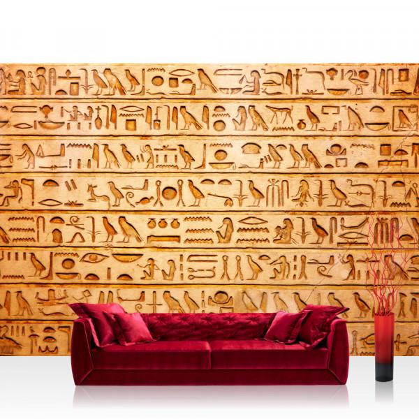 Vlies Fototapete Ägypten Tapete Hyroglyphen Alt Abstrakt Ornamente Symbole gelb