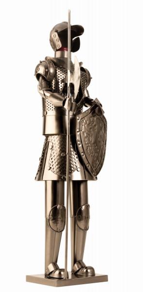 Riesiger und exklusiver Wein Flaschenhalter Ritter aus Metall in silber Höhe 61 cm