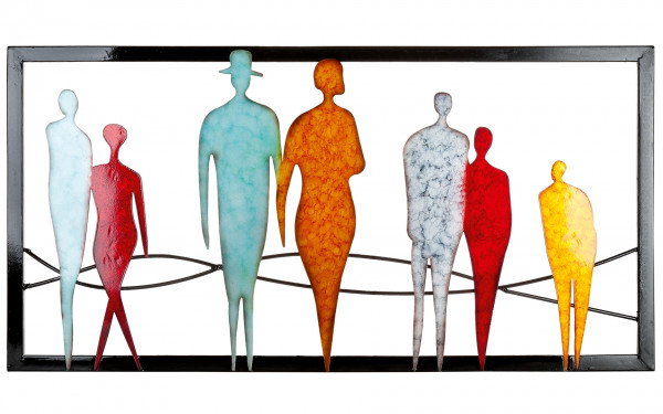 Modern wall decoration wall sculpture People Orange / Red / Blue / Gray 80x40 cm * 1 piece *