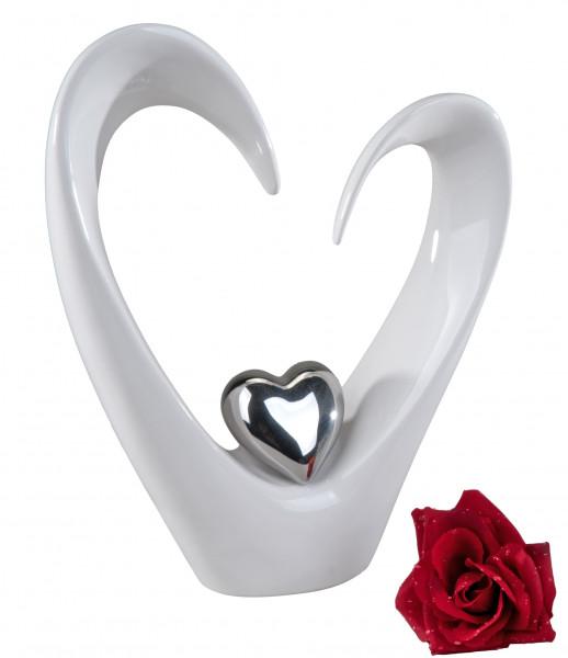 Moderne Dekofigur Herz Skulptur aus Keramik in weiß/silber Höhe 33 cm