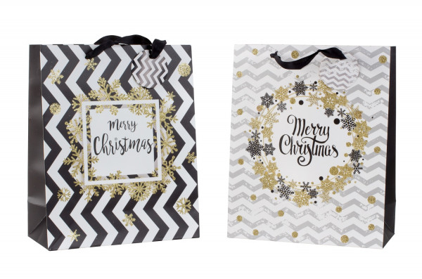 Gift bag Christmas black and white / gold with glitter in set of 4 Dimensions 26x32x12cm
