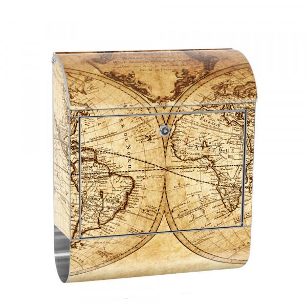 Edelstahlbriefkasten mit Zeitungsrolle & Motiv Weltkarte Atlas Vintage | no.0076