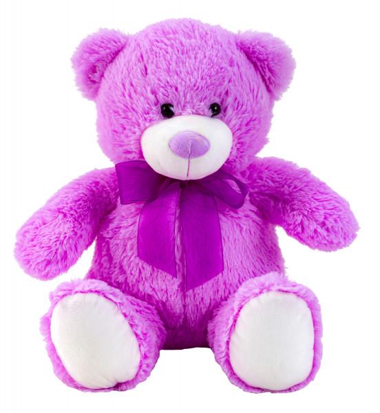 Teddybär Kuschelbär lila mit Schleife 50 cm groß Plüschbär Kuscheltier samtig weich - zum liebhaben