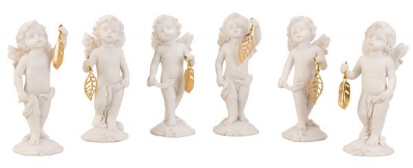 Moderne Skulptur Dekofigur Engel weiß mit goldener Feder im 6er Set Höhe 10,5 cm