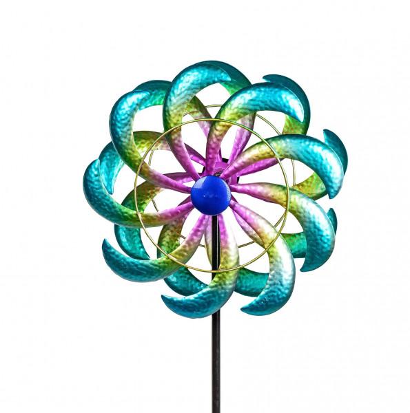 Windrad Windspiel Blume als Gartenstecker aus Metall blau, lila und gelb mit einer Länge von 120 cm