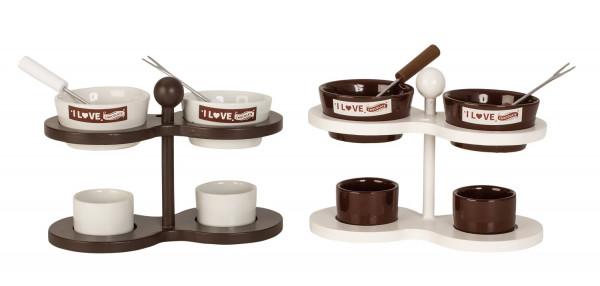 Tolles 2er Schokoladen Fondue Set aus Keramik weiß/braun 19x12 cm mit je 2 Fonduegabeln