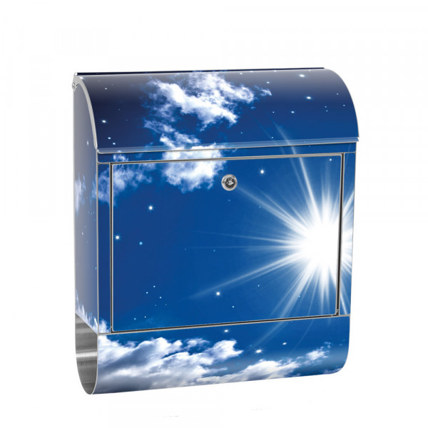 Stainless Steel Letterbox with Newspaper roll & Motif Stars night sky | No. 0023