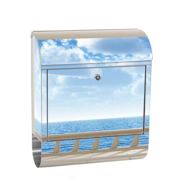 Stainless Steel Letterbox with Newspaper roll & Motif View Beach 3D | No. 0122