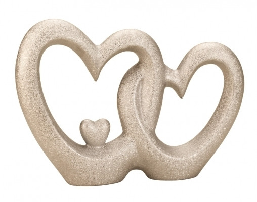 Modern heart sculpture ceramic decor with pearl structure in silver Height 22 cm Width 32 cm