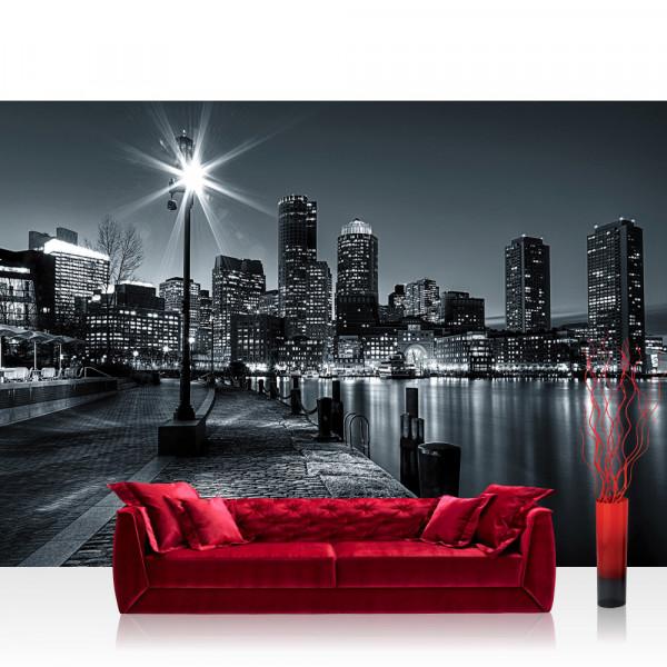 Vlies Fototapete New York Tapete Laterne Nacht Skyline Lichter Fluss schwarz - weiß