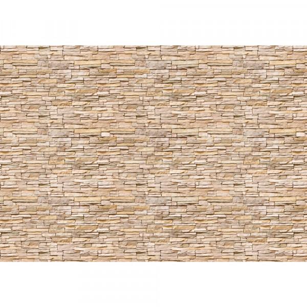 Vlies Fototapete Asian Brick Stone WallSteinwand Tapete Kleine Steine Asia Steine hell beige