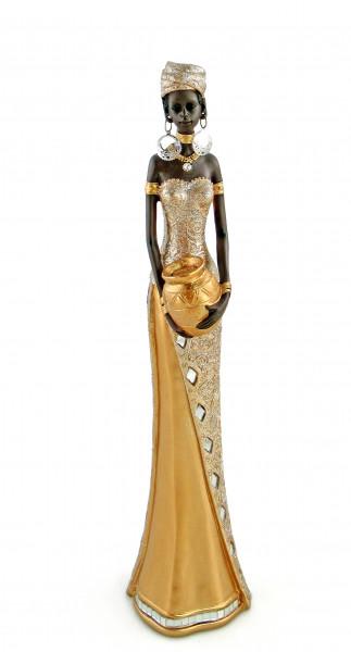 Moderne Skulptur Dekofigur Frau Afrikanerin gold/braun Höhe 40 cm