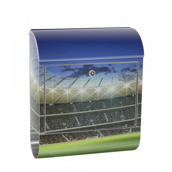 Stainless Steel Letterbox with Newspaper roll & Motif Football Fans stadium | No.0939
