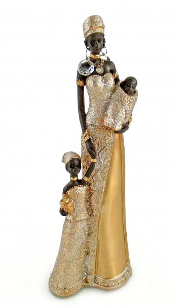 Moderne Skulptur Dekofigur Frau Afrikanerin gold/braun Höhe 32 cm