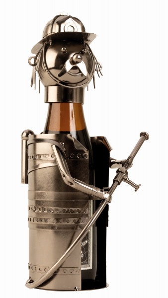 Moderner Bier Flaschenhalter Flaschenständer Feuerwehrmann aus Metall in silber Höhe 24 cm