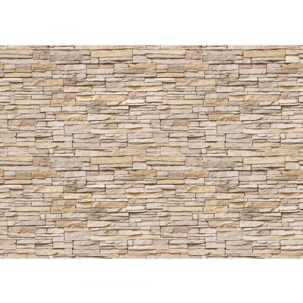 Vlies Fototapete Asian Stone Wall 2 - beige - anreihbar Steinwand Tapete Steinoptik Stein Wand Wall