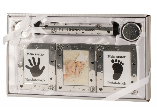Baby Set in silver, including photo frames, 2 doses, tube and plaster for hand and footprint 22x37cm