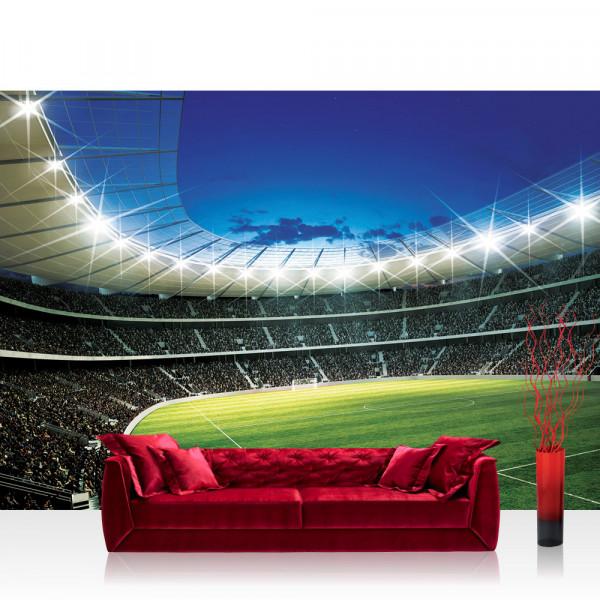 Vlies Fototapete Fussball Tapete Fussballstadion Fankurve Flutlicht Rasen Fans Tor Sterne Tribune
