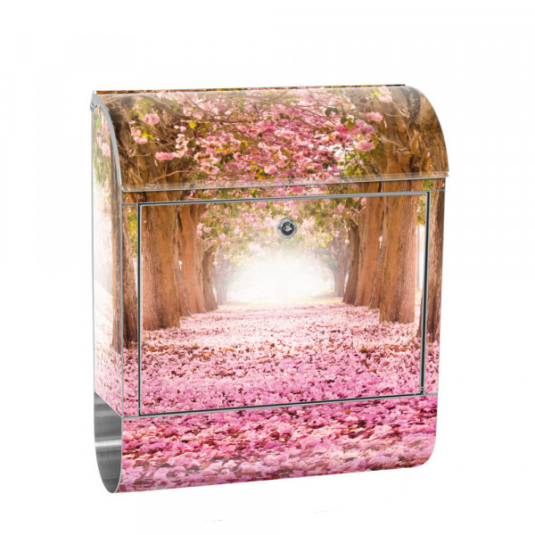 Stainless Steel Letterbox with Newspaper roll & Motif Herbswald colorful Leaves | No.0151