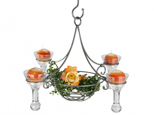 Exclusive hanging chandelier 4flm. silver drops with glasses and decorative basket diameter 50 cm