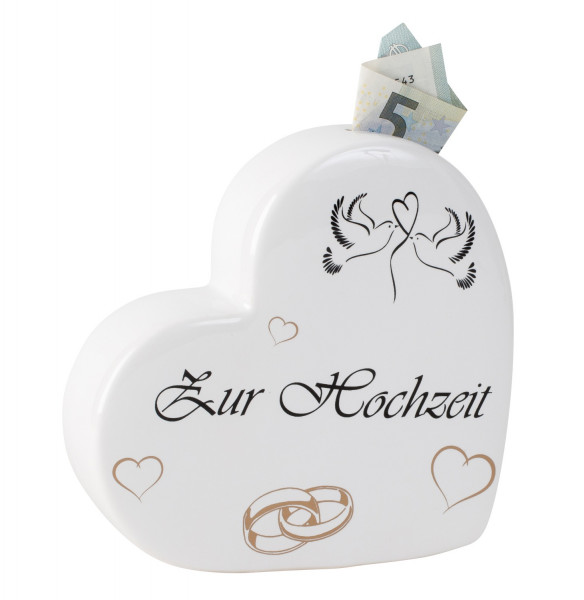 Modern money box piggy bank in the shape of a heart for wedding ceramic white 16x16 cm