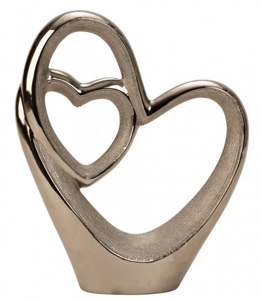Moderne Herz Skulptur Dekofigur aus Keramik in silber Höhe 30 cm Breite 25 cm