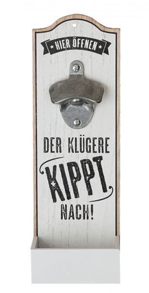 Wand-Flaschenöffner Metallöffner Kronkorkensammler Der klügere Kippt nach Höhe 30 cm weiß Wanddeko,