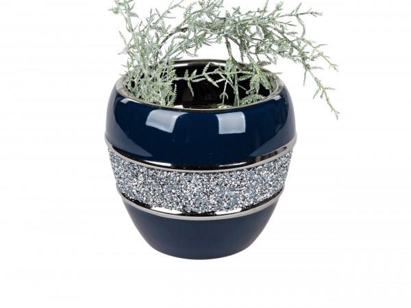 Moderne Dekovase Blumenvase Tischvase Vase aus Keramik Blau Silber glänzend Höhe 16 cm