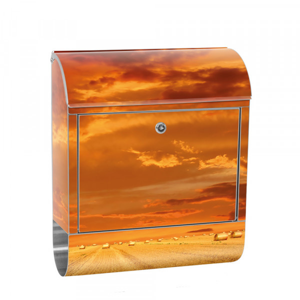Stainless Steel Letterbox with Newspaper roll & Motif Field Sky clouds | No. 1005