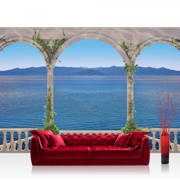 Vlies Fototapete Meer Tapete Terasse Säulen Meer Berge blau