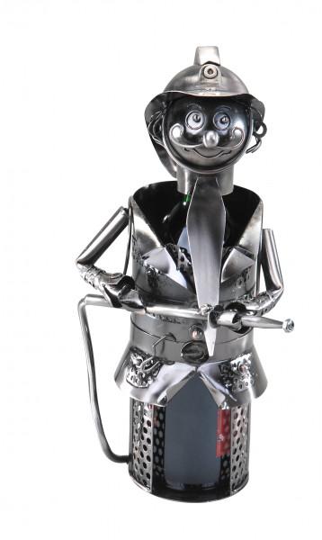 Bottle Holder Bottle stand Firefighter for Metal silver wine Bottles height 28 cm