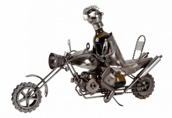 Wein Flaschenhalter Flaschenständer Motorrad aus Metall in silber Länge 61 cm Höhe 41 cm