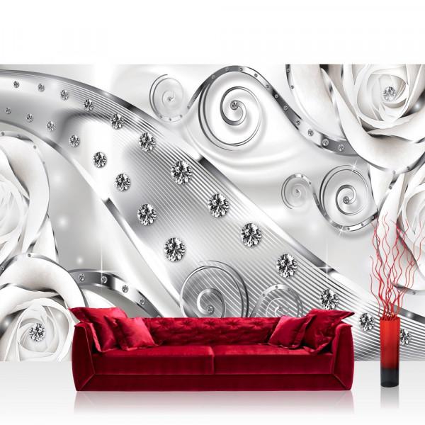 Vlies Fototapete Ornamente Tapete Abstrakt Diamant RoseSchnürkel Streifen grau