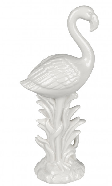 Moderne Skulptur Dekofigur Flamingo aus Keramik in Weiß Höhe 24 cm