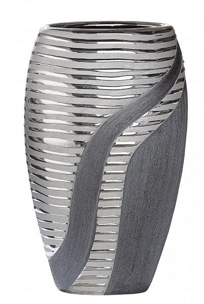 Moderne Dekovase Blumenvase Tischvase Vase aus Keramik Silber Anthrazit Höhe 19,5 cm