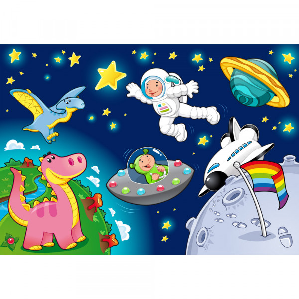 Vlies Fototapete Little Space Explorers Kindertapete Tapete Kinderzimmer Weltraum Star All Weltall