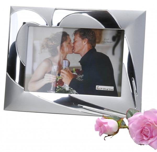 Modern photo frame 13x18cm heart combined silver aluminum matt + gloss