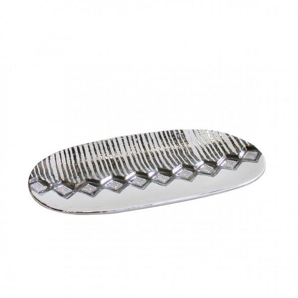 Modern decorative bowl fruit bowl ceramic bowl white / silver 36x20 cm
