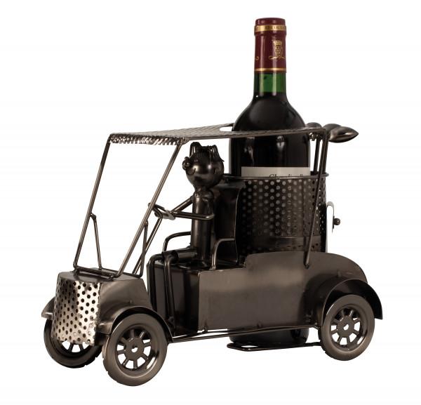 Moderner Wein Flaschenhalter Flaschenständer Golfer in Car aus Metall in silber Höhe 21 cm Breite 29