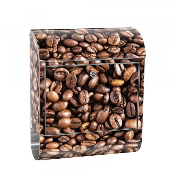 Edelstahlbriefkasten mit Zeitungsrolle & Motiv Kaffee Bohnen Aroma | no. 0176