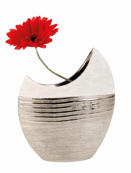 Moderne Deko Vase Blumenvase aus Keramik weiß/silber Höhe 23 cm